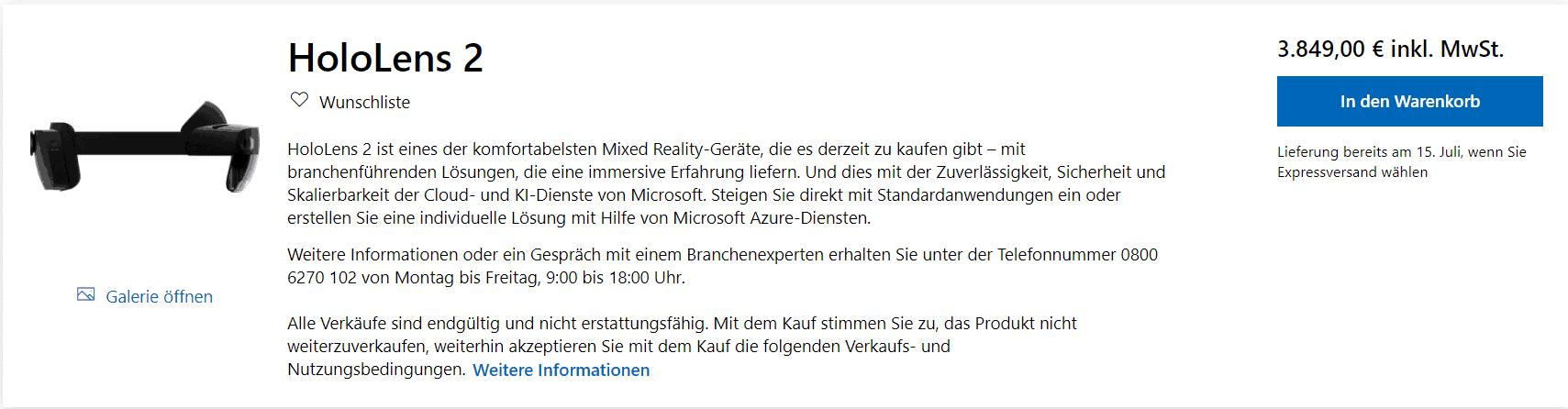 HoloLens 2 im Microsoft Store kaufen