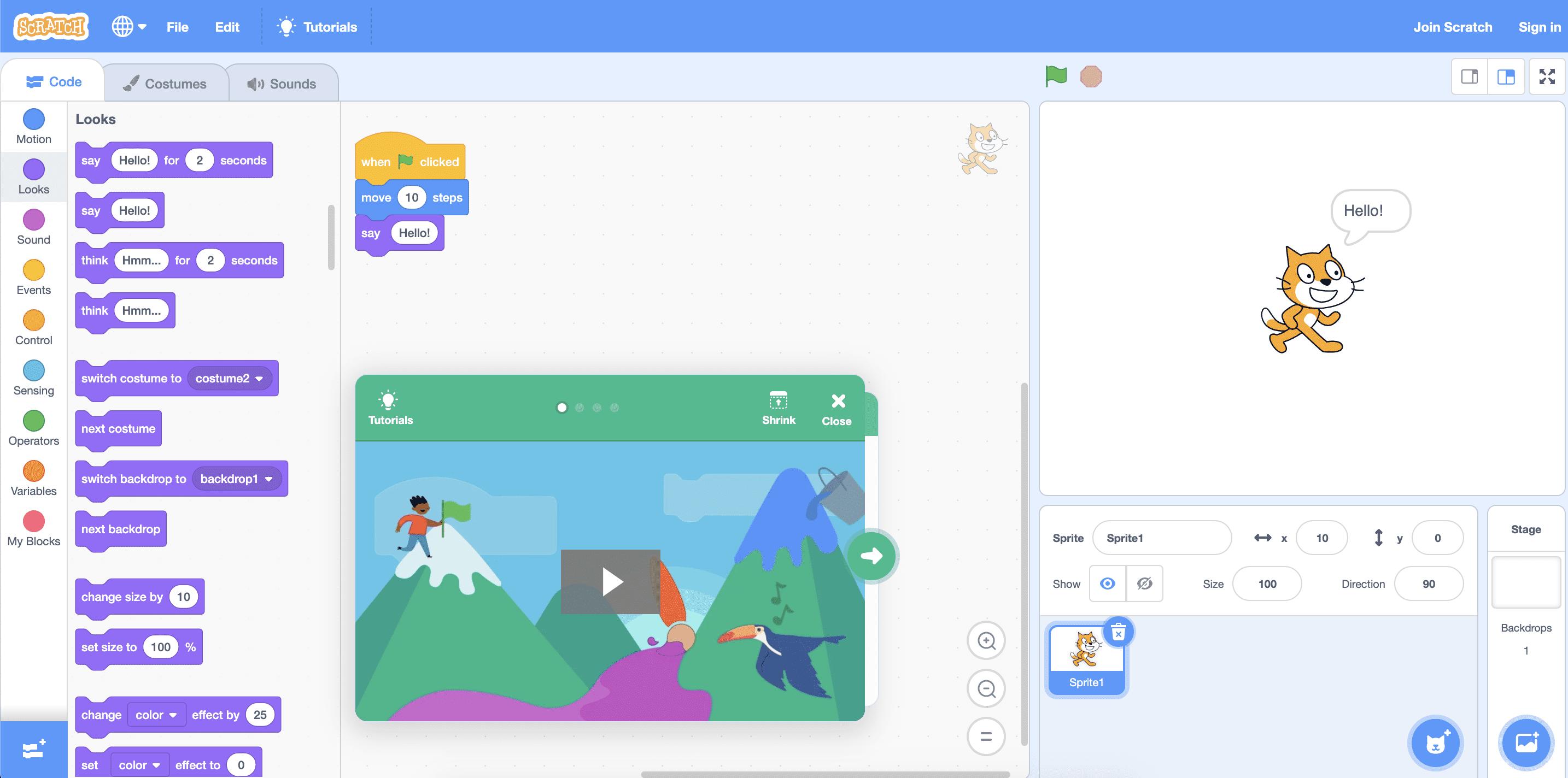 Visual Scripting mit Scratch Website